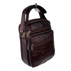 На фото 1 - Мужская сумка для документов из фактурной натуральной кожи, цвет шоколад