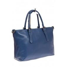 На фото 1 - Тоут-шоппер из натуральной кожи, цвет голуб...