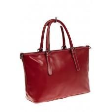 На фото 1 - Тоут-шоппер из натуральной кожи, цвет красн...