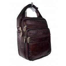 На фото 1 - Мужская сумка для документов из фактурной натуральной кожи, цвет коричневый