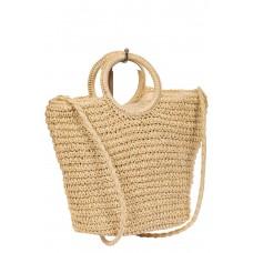 На фото 1 - Плетеная сумка-корзинка из соломки, цвет молочный