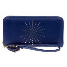 На фото 1 - Женский кошелек-клатч из искусственной кожи, цвет синий