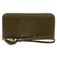 На фото 1 - Женский кошелек-клатч из искусственной кожи, цвет зеленый