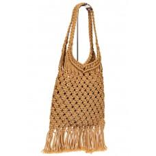 На фото 1 - Женская сумка-авоська с плетеными ручками, цвет песочный