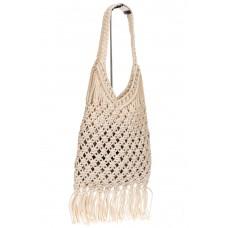 На фото 1 - Женская сумка-авоська с плетеными ручками, цвет слоновой кости