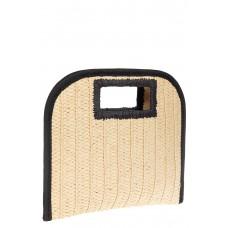На фото 1 - Женская плетеная сумка-конверт из соломы, цвет бежевый