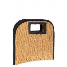 На фото 1 - Женская плетеная сумка-конверт из соломы, цвет слоновая кость