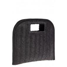 На фото 1 - Женская плетеная сумка-конверт из соломы, цвет темно-коричневый