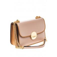 На фото 1 - Каркасная сумка-малышка из натуральной кожи, цвет розовый