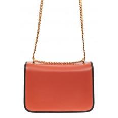 На фото 2 - Каркасная сумка-малышка из натуральной кожи, цвет коралл