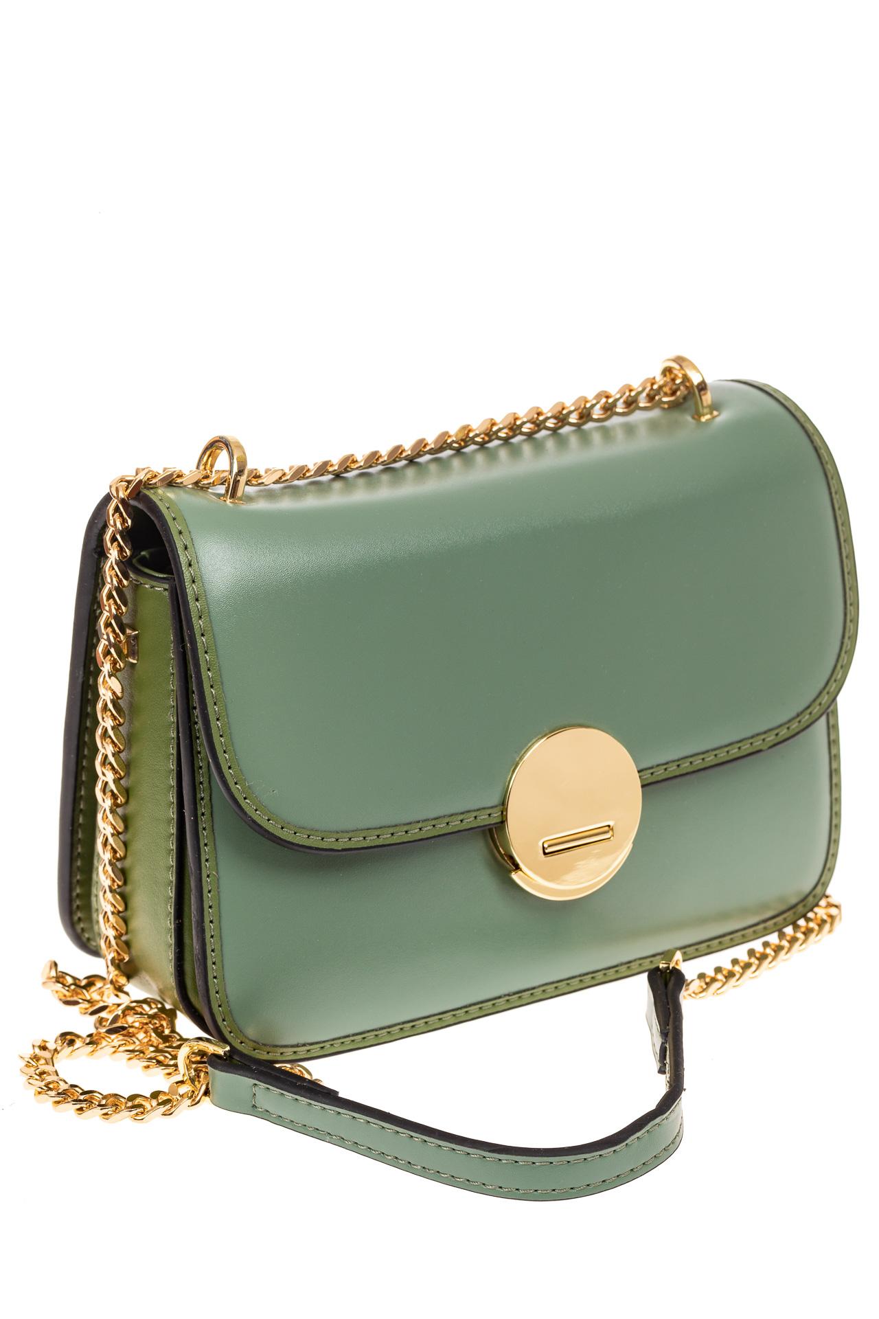 На фото 1 - Каркасная сумка-малышка из натуральной кожи, цвет мята