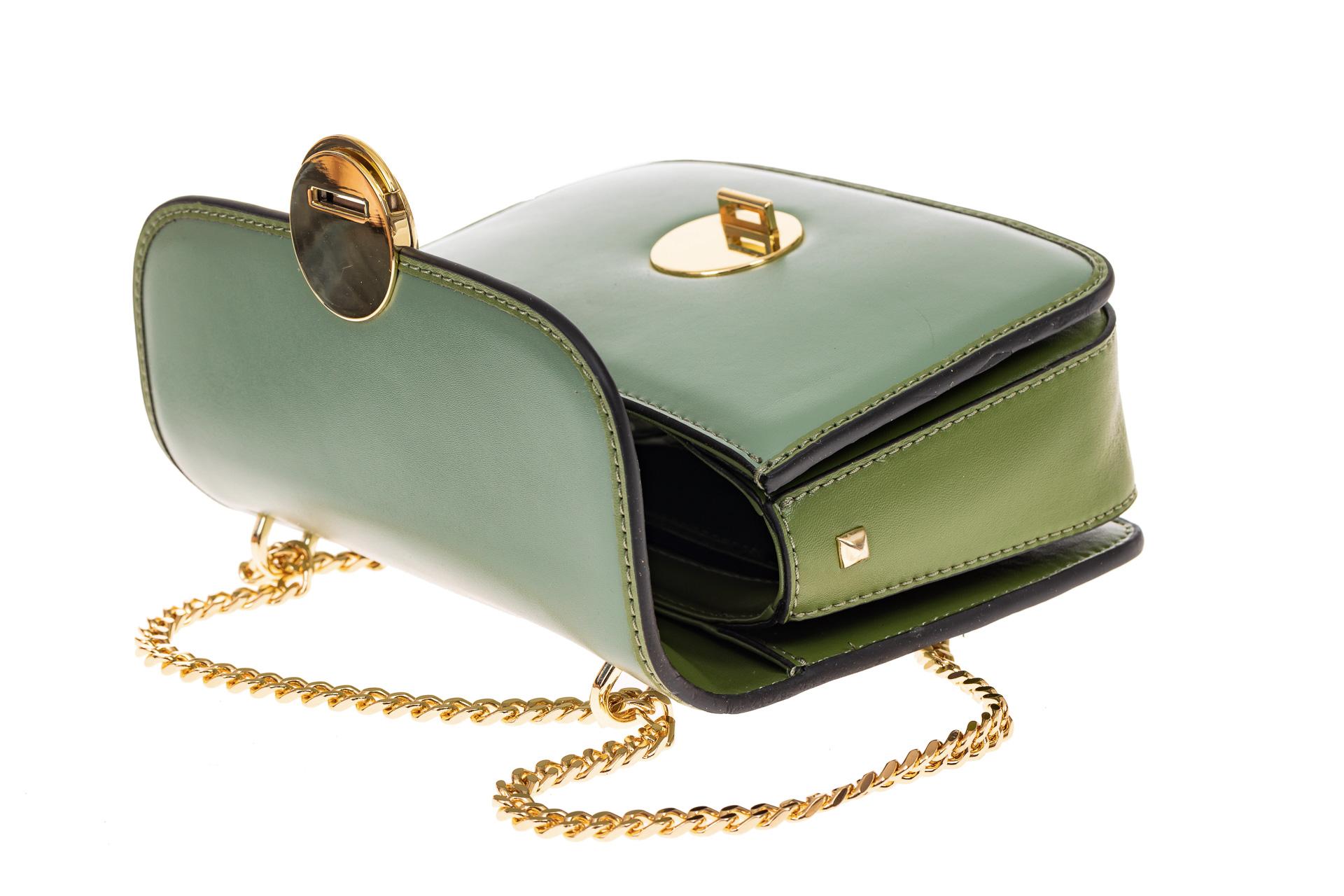 На фото 3 - Каркасная сумка-малышка из натуральной кожи, цвет мята