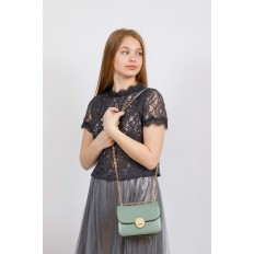 На фото 4 - Каркасная сумка-малышка из натуральной кожи, цвет мята