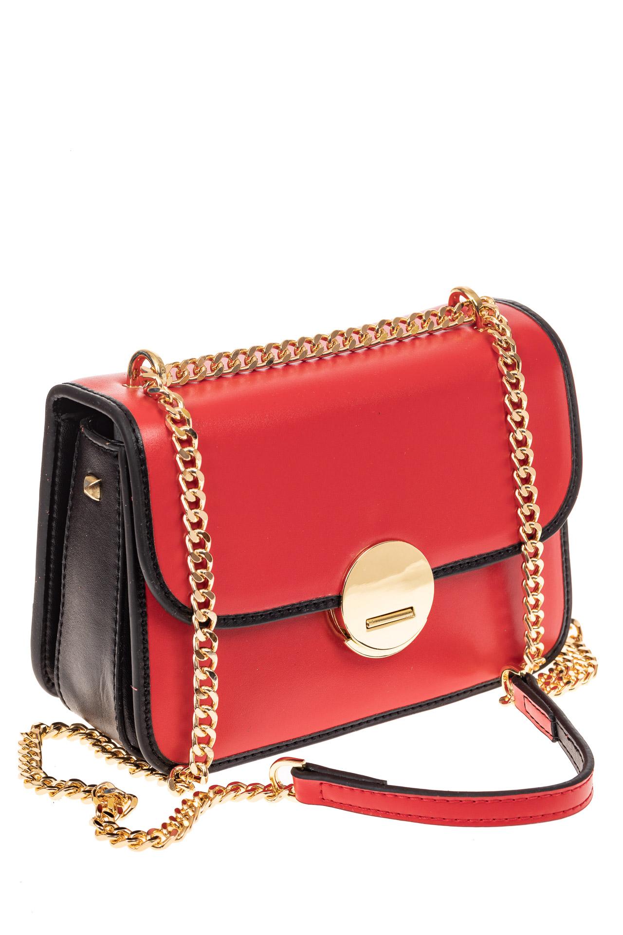На фото 1 - Каркасная сумка-малышка из натуральной кожи, цвет красный