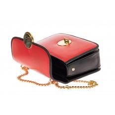 На фото 3 - Каркасная сумка-малышка из натуральной кожи, цвет красный