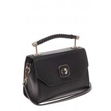 На фото 1 - Каркасная сумка-малышка из натуральной кожи, цвет черный