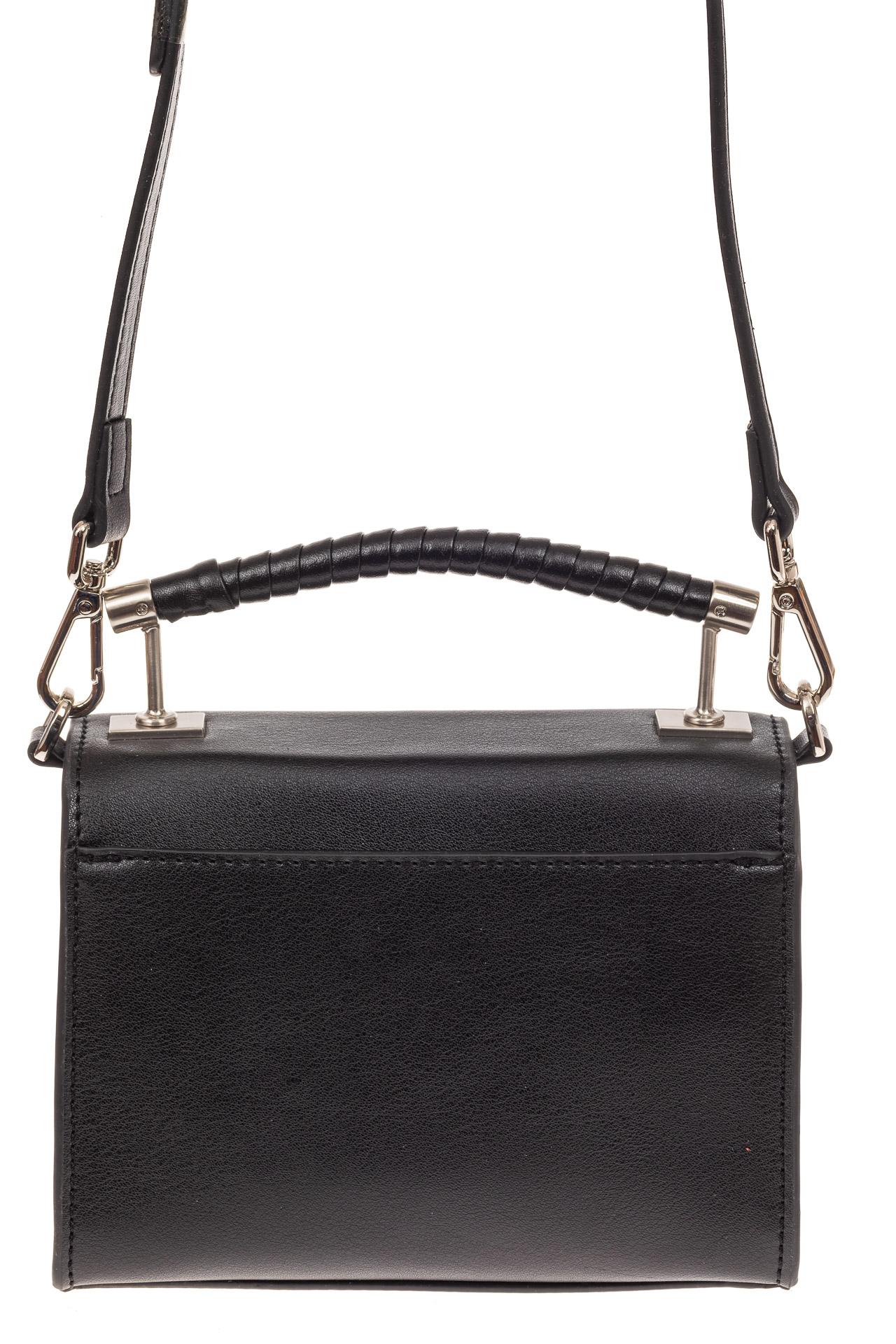 На фото 2 - Каркасная сумка-малышка из натуральной кожи, цвет черный