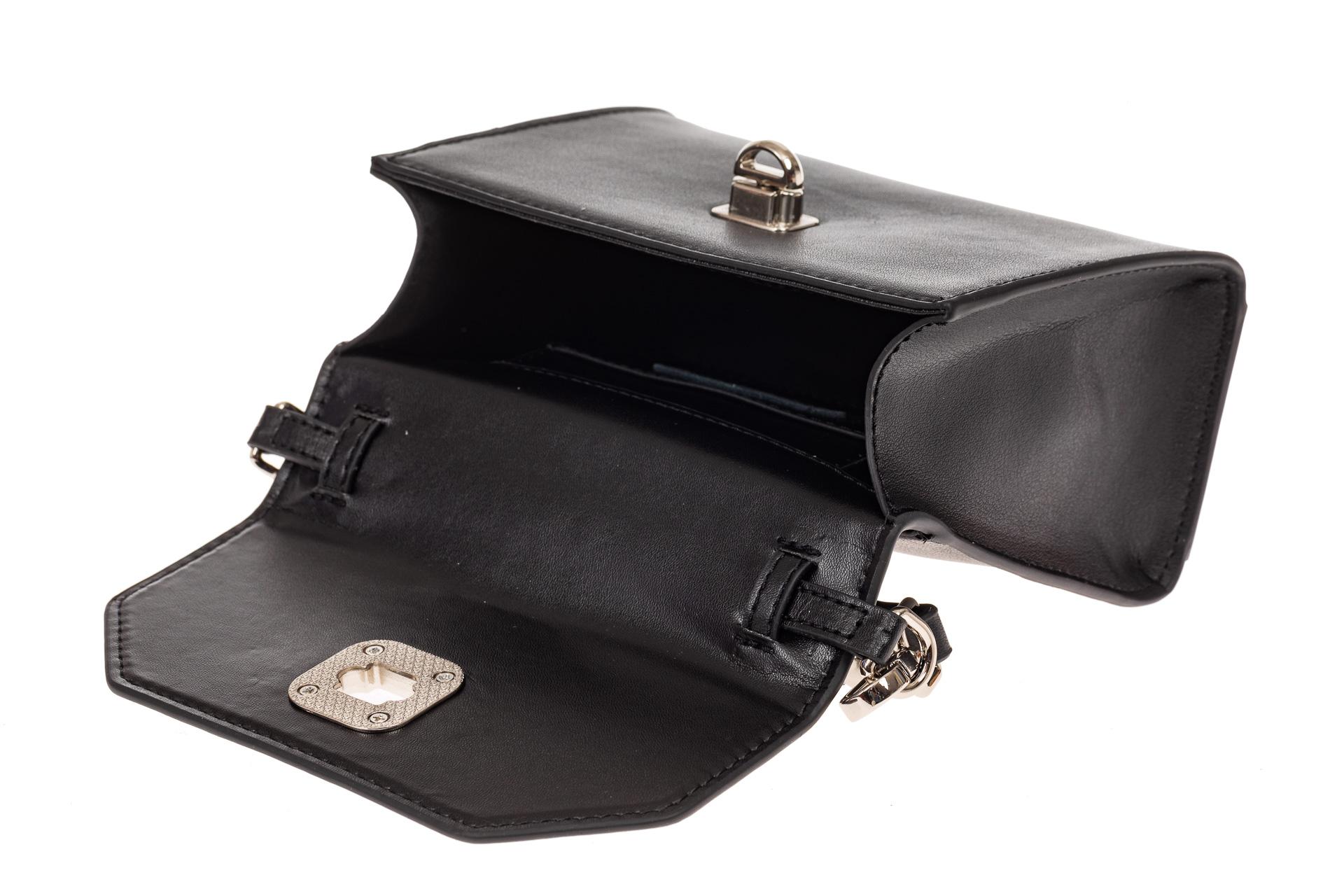 На фото 3 - Каркасная сумка-малышка из натуральной кожи, цвет черный