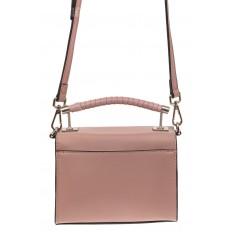 На фото 2 - Каркасная сумка-малышка из натуральной кожи, цвет пудра