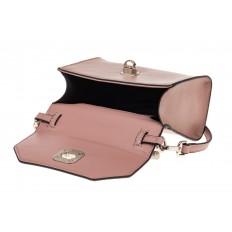 На фото 3 - Каркасная сумка-малышка из натуральной кожи, цвет пудра