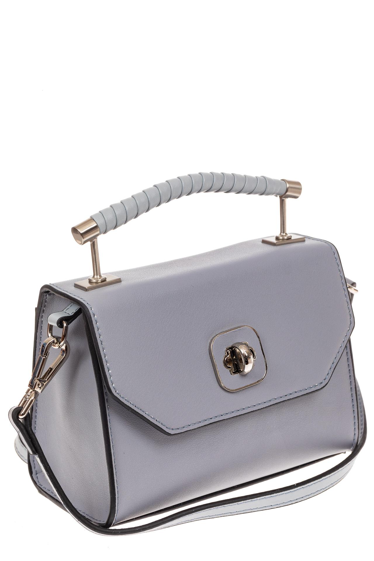 На фото 1 - Каркасная сумка-малышка из натуральной кожи, цвет серо-голубой