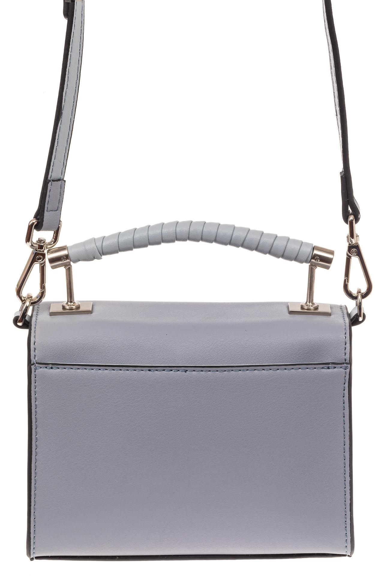 На фото 2 - Каркасная сумка-малышка из натуральной кожи, цвет серо-голубой