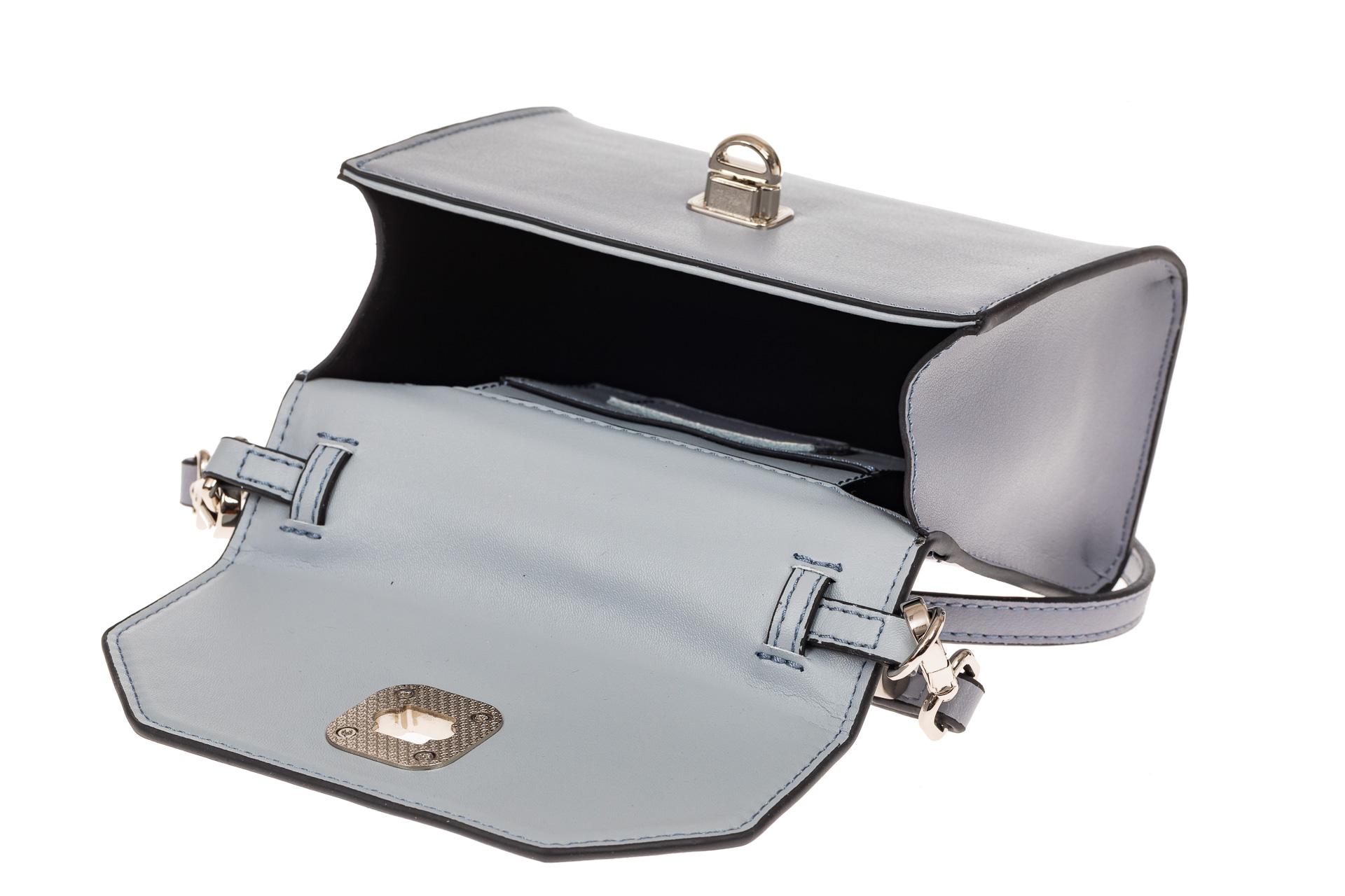 На фото 3 - Каркасная сумка-малышка из натуральной кожи, цвет серо-голубой