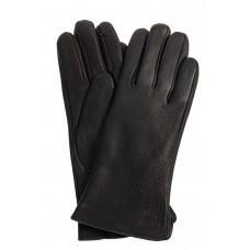 На фото 1 - Перчатки женские из натуральной кожи оленя, чёрные