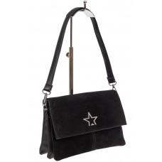 На фото 1 - Замшевая сумка, цвет чёрный