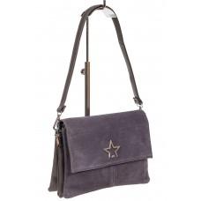 На фото 1 - Замшевая сумка, цвет серый