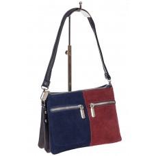 На фото 1 - Маленький клатч из замши, цвет синий с бордовым