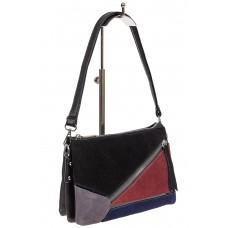 На фото 1 - Женская сумка из натуральной замши, цвет комбинированный