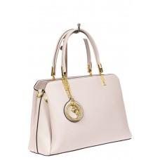 На фото 1 - Строгая женская сумка из кожзама с эффектной подвеской, цвет белый