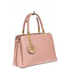 На фото 1 - Строгая женская сумка из кожзама с эффектной подвеской, цвет розовый