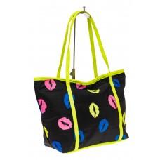 На фото 1 - Пляжная сумка из текстиля, цвет черный