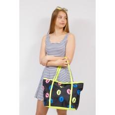 На фото 4 - Пляжная сумка из текстиля, цвет черный