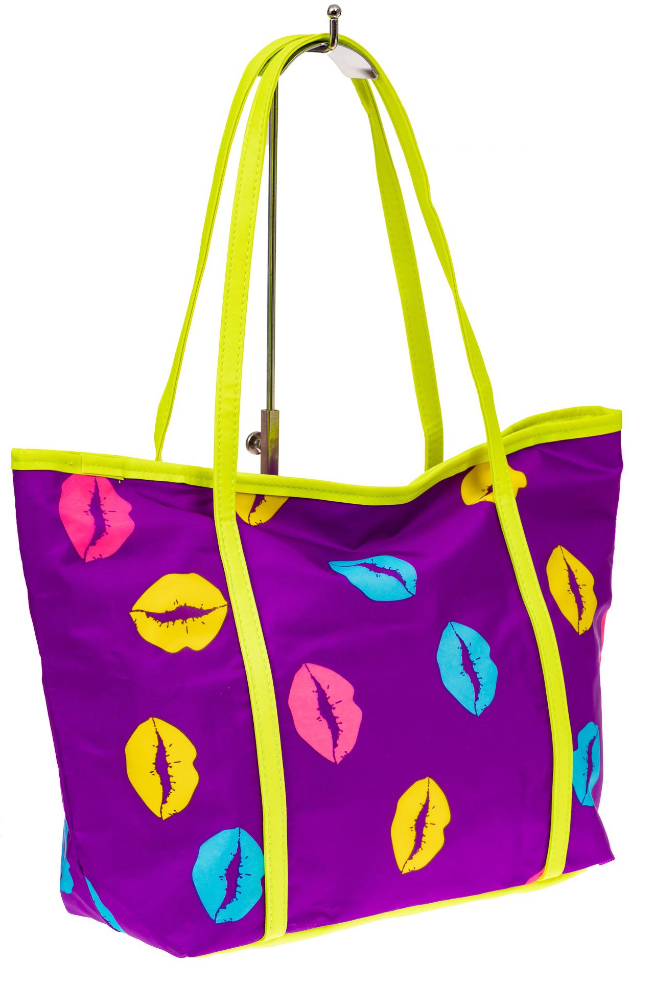 На фото 1 - Пляжная сумка из текстиля, цвет фиолетовый
