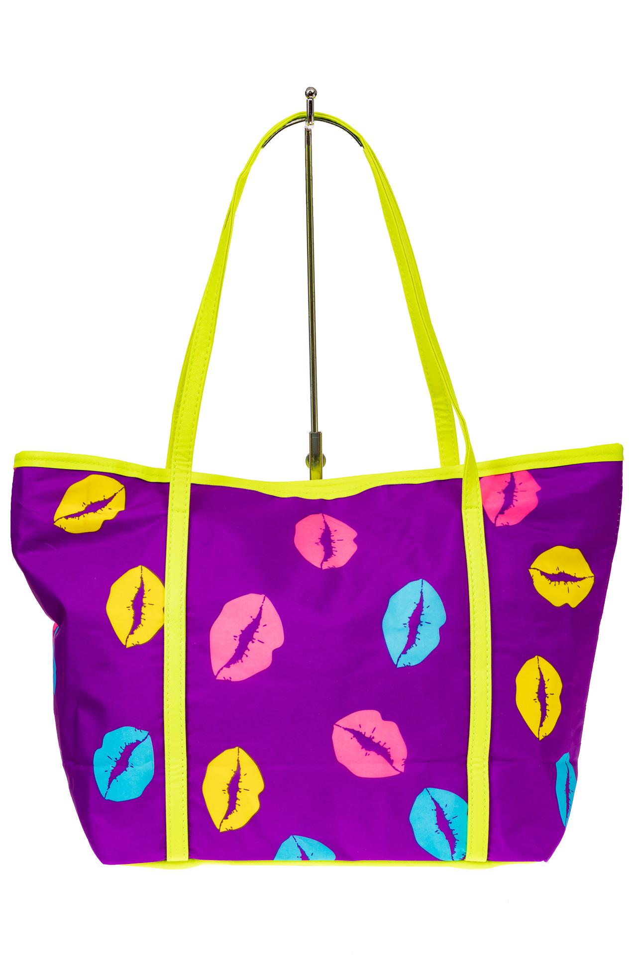 На фото 2 - Пляжная сумка из текстиля, цвет фиолетовый