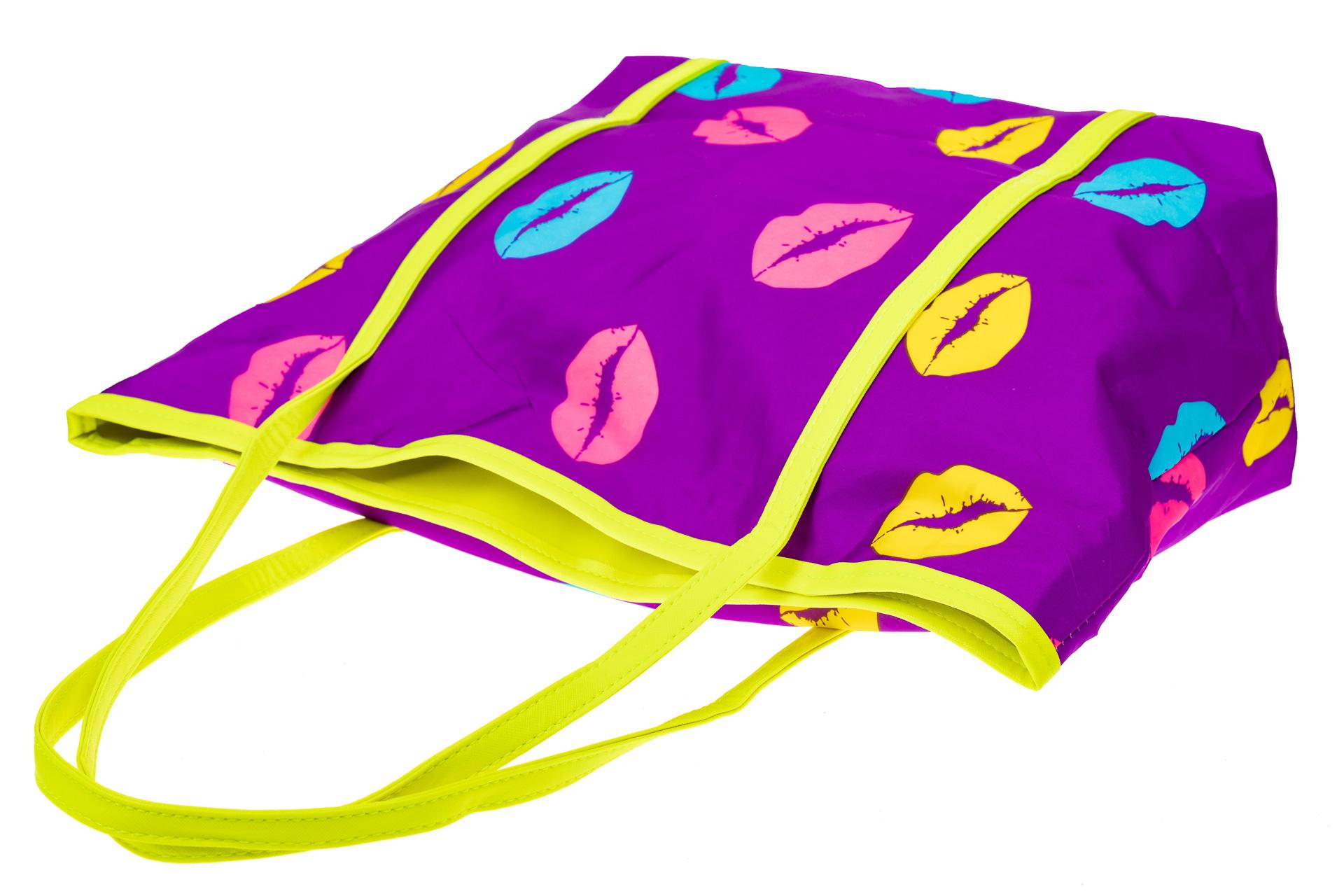 На фото 3 - Пляжная сумка из текстиля, цвет фиолетовый
