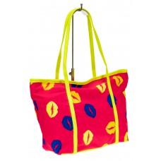 На фото 1 - Пляжная сумка из текстиля, цвет розовый