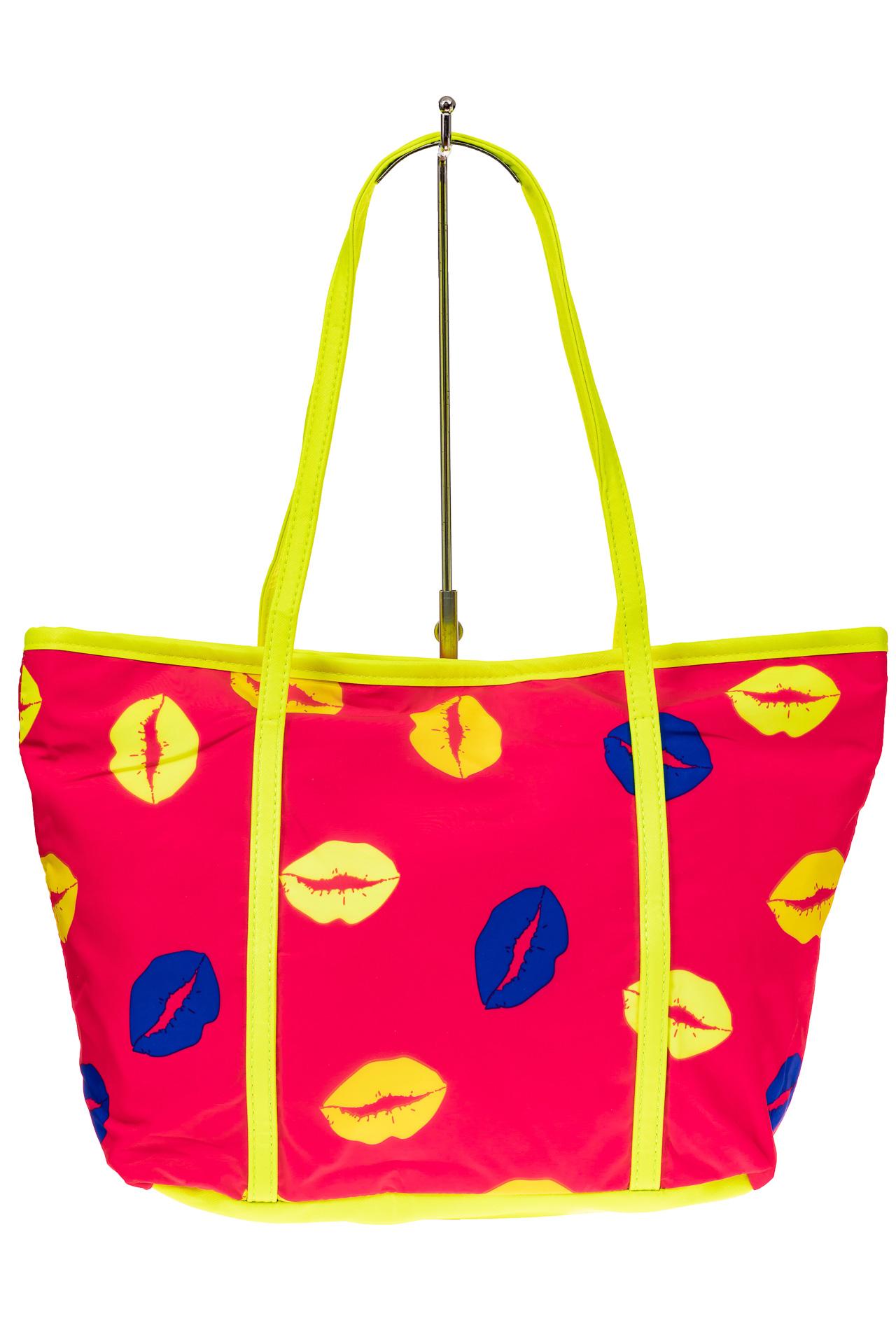 На фото 2 - Пляжная сумка из текстиля, цвет розовый