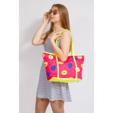 На фото 4 - Пляжная сумка из текстиля, цвет розовый