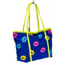 На фото 1 - Пляжная сумка из текстиля, цвет синий
