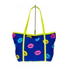 На фото 2 - Пляжная сумка из текстиля, цвет синий