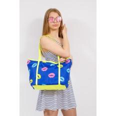 На фото 4 - Пляжная сумка из текстиля, цвет синий