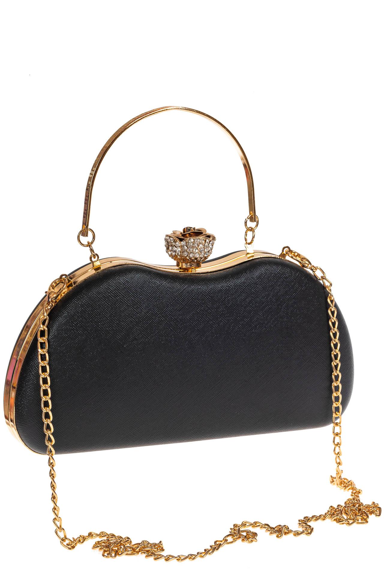 На фото 1 - Оригинальная вечерняя сумочка,  цвет черный