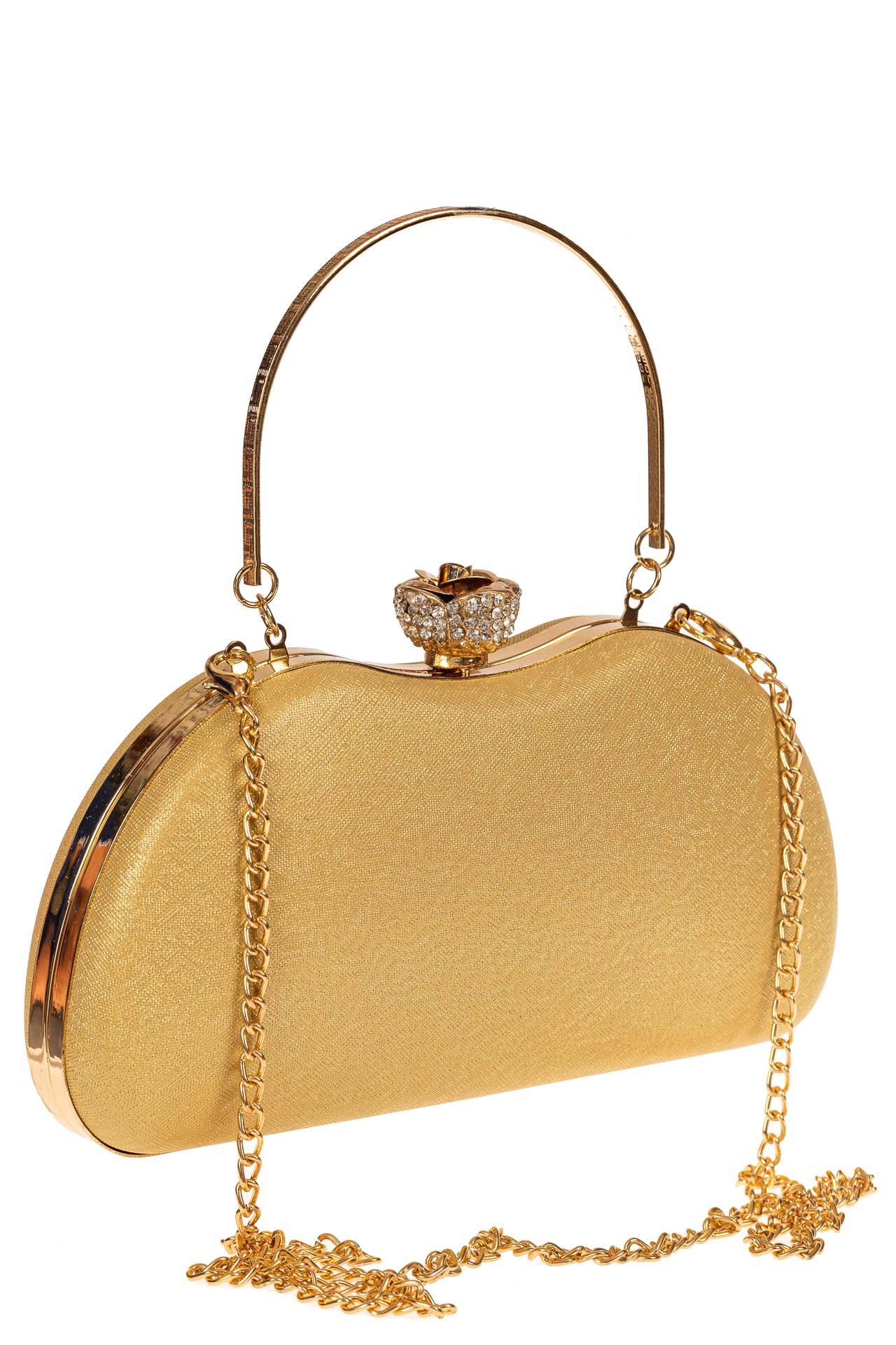 На фото 1 - Оригинальная вечерняя сумочка,  цвет золото