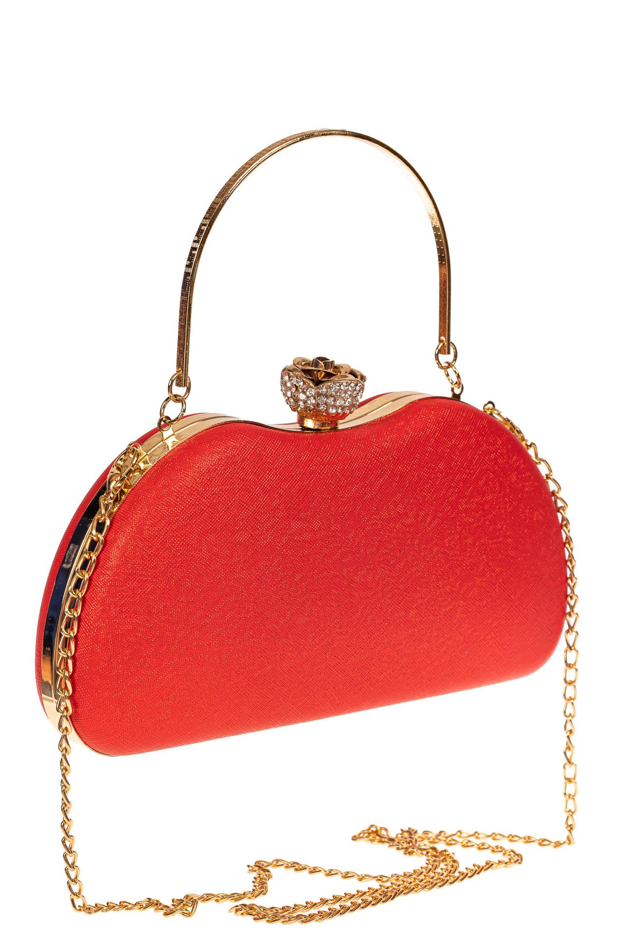 На фото 1 - Оригинальная вечерняя сумочка,  цвет красный