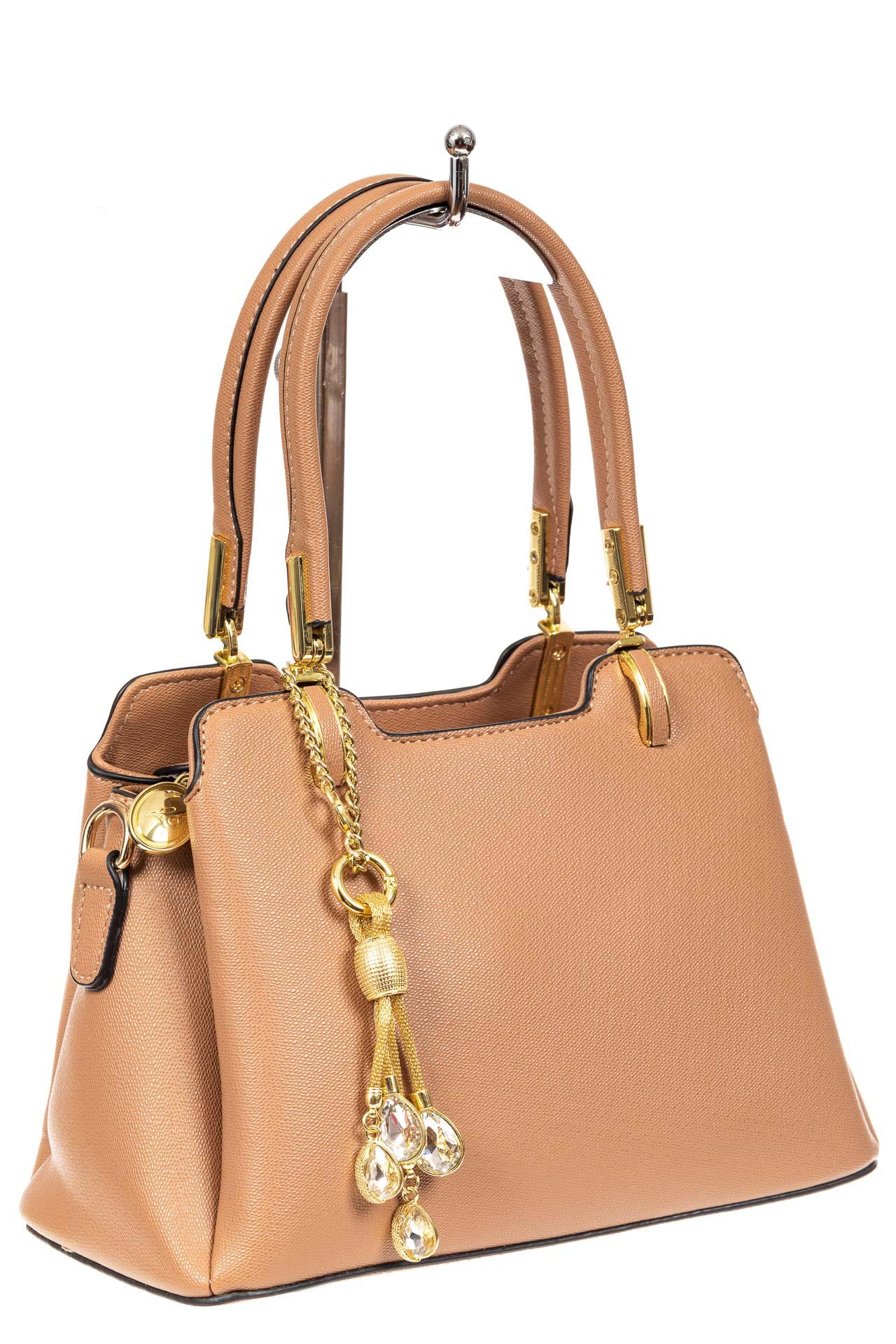 Женская сумка-трапеция из экокожи с подвеской, цвет бежевый1180PJ0420/10