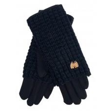 На фото 1 - Текстильные женские перчатки с украшенными шерстяными митенками, цвет чёрный